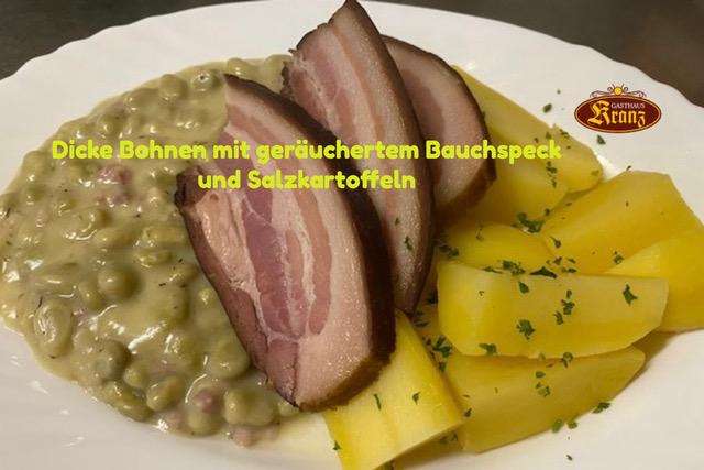 Wochengericht ab 18.10.21:  Dicke Bohnen mit geräuchertem Bauchspeck und Salzkartoffeln für 10,90